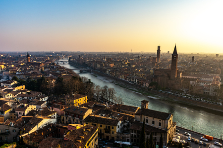 Beautiful sunset view of Verona, Veneto region, Italy