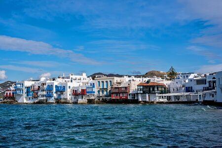 Little Venice bay of Mykonos town in Mykonos island in Greece
