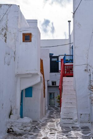 View of the famous pictorial narrow streets of Mykonos town in Mykonos island, Greece