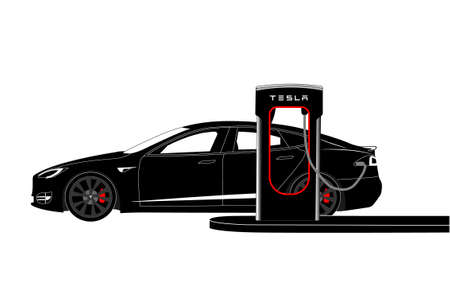 Electric car with charging station.