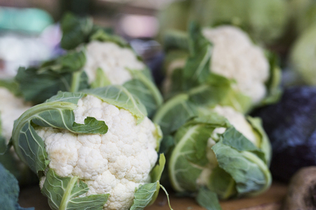 Ripe cauliflower on the market, close up