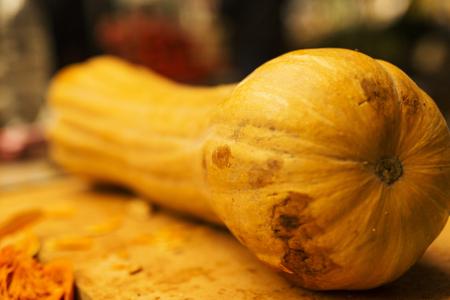 Ripe pumpkin on the market, close up
