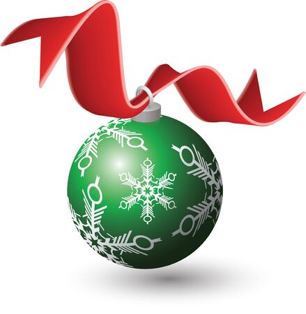 ribbon: Illustration of a green Christmas Ornament with a red ribbon. Vector illustration in a 3D style. Illustration