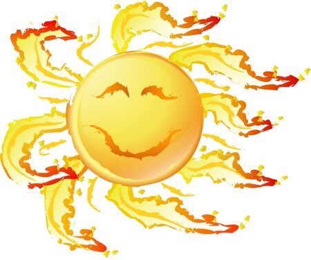 Smiling sun with wild flames, vector illustration