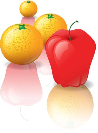 comparing: Illustration of an apple with three oranges in the background. The reflections in the shiny surface are swapped, oranges reflect apples and apples reflect oranges.