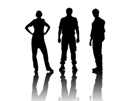 silhouettes over white photo