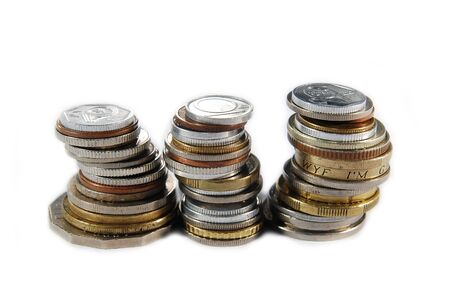 Three stacks of different coins Stock Photo - 8350710