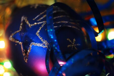 Blue christmas bauble photo