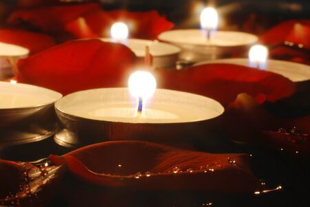 Candles and Rose petals Stock Photo - 9986423