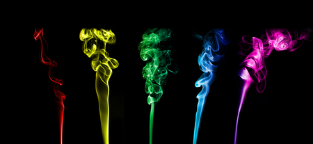 notional: Selection of colorful smoke on black buckground