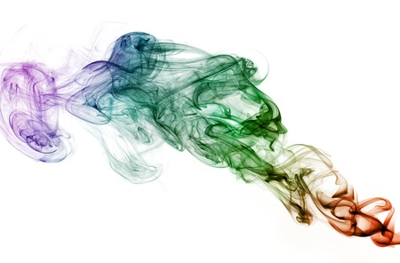 nice colored smoke isolated on white background