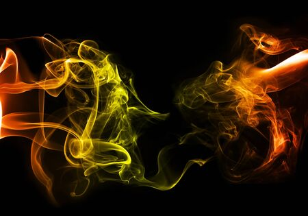 notional: Colorful smoke fire theme on black buckground Stock Photo