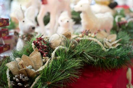 Christmas tree branch, decoratiions and deers on background 版權商用圖片