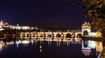 A beautiful view on karlov bridge in the evening prague