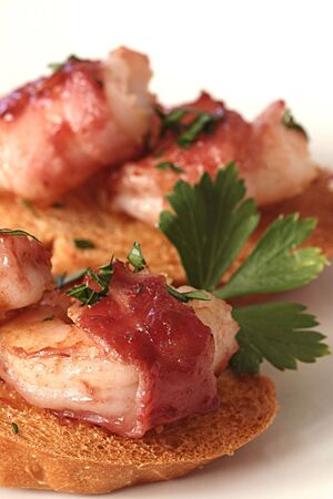 Bacon Wrapped Shrimp Crostini Stock Photo
