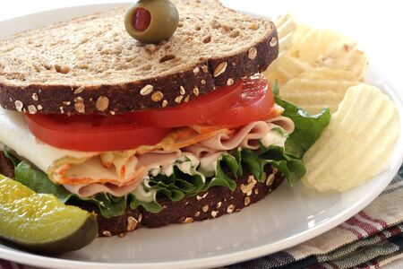 wholegrain mustard: Bologna, Cheese, Lettuce and Tomato Sandwich with Pickle and Chips