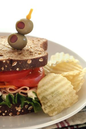wholegrain mustard: Bologna, Cheese, Lettuce and Tomato Sandwich with Chips