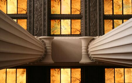 Columns with Stained Glass Stock Photo - 2613872