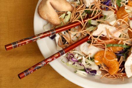 Oriental Chicken Salad with Chopsticks Stock Photo