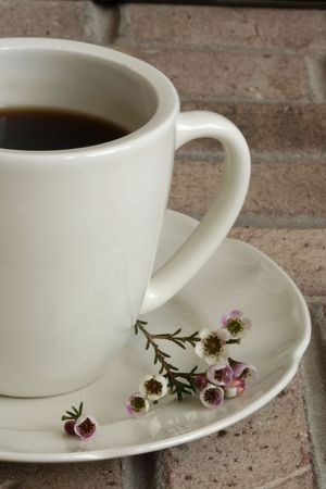 Coffee Cup and Saucer with Flowers