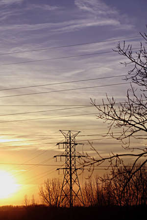 High Powerlines against sunset Stock Photo - 2679512