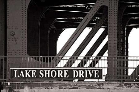 Lake Shore Drive sign on a bridge Stock Photo