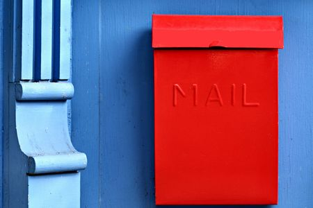 Red Mailbox and Column Stock Photo