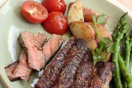 Sliced steak and vegetables Stok Fotoğraf