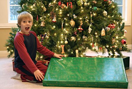Boy Surprised by Large Christmas Present Stock Photo - 2715597