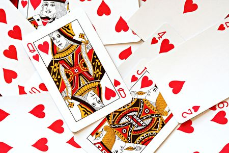 Deck of Cards Showing only Hearts Editorial