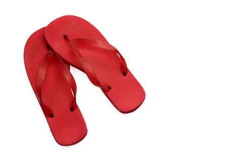 flops: Red Flip Flops on White Background