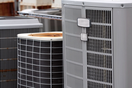 air: Commercial Air Conditioners Stock Photo