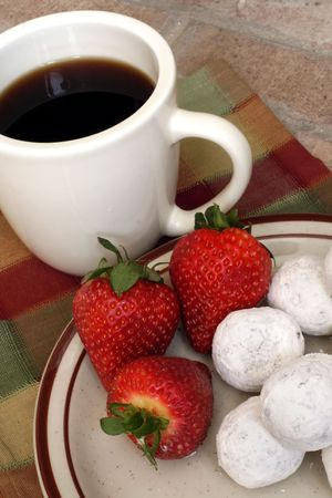 Coffee with Donuts and Strawberries
