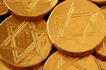 gelt: Gold covered chocolate gelt Stock Photo