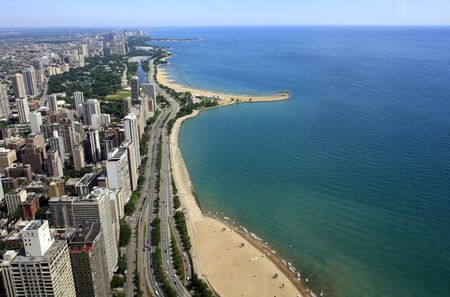 ariel: Ariel view of Chicago lakefront including Oak Street and North Avenue Beaches Stock Photo