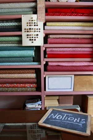 Fabrics and Buttons For Sale in Vintage General Store