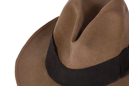 Fedora brun sur fond blanc Banque d'images - 3830673