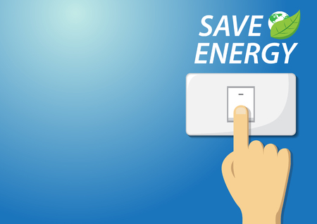 turn off switch to save energy concept. vector illustration.