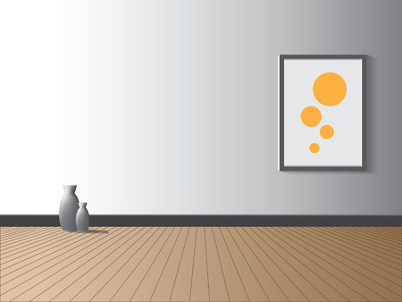 wood texture: Room with jug and picture frame. vector illustration.