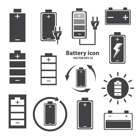 Battery icon design on white background. vector illustration.
