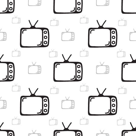 seamless antique television background doodle hand drawing. vector illustration.