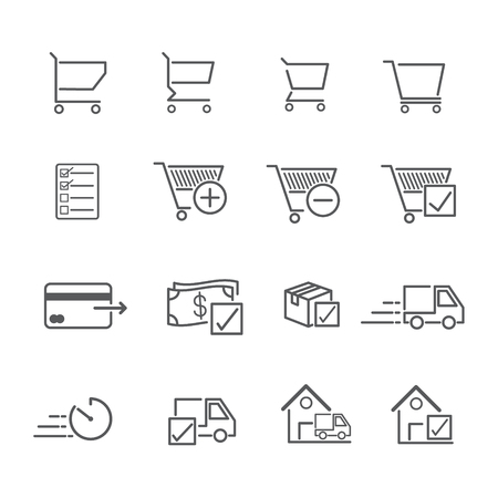 Line icon for online shopping, symbols of purchase and delivery. Editable Stroke. vector illustration.
