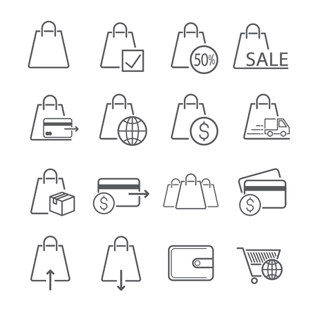 Bag icon designed for trading. Used for website or article. Editable Stroke. vector illustration. Ilustracja