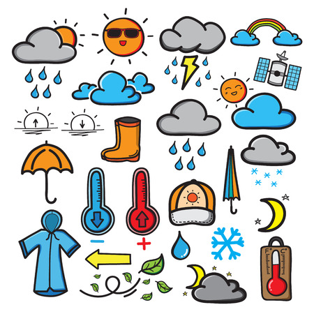 The doodle symbols of the weather are drawn by hand as a cartoon theme. vector illustration.