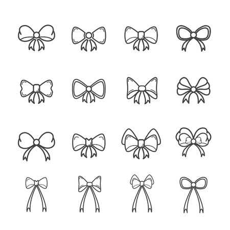 Decorative bow for cards and gift boxes in festivals or special days. Editable stroke. Vector illustration.