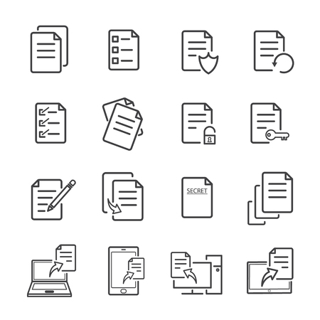 Paper and electronic document with line icons can be editable stroke. vector illustration. Ilustracja