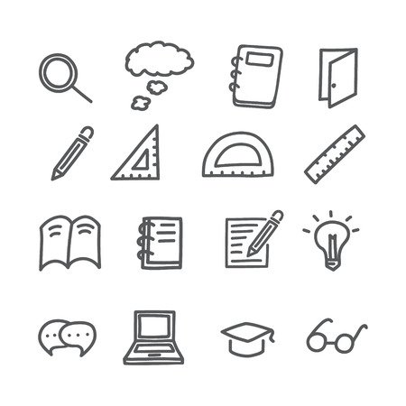 Doodle hand drawing education icon about  knowledge search. vector illustration.
