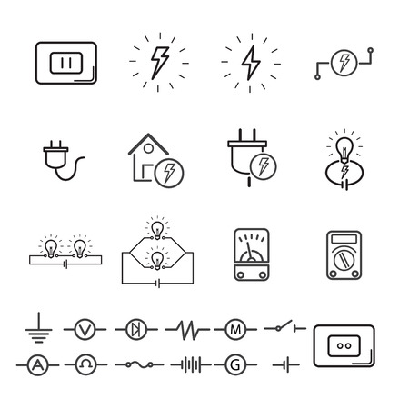 Electrical signs and quipment. editable stroke. vector illustration. Ilustracja