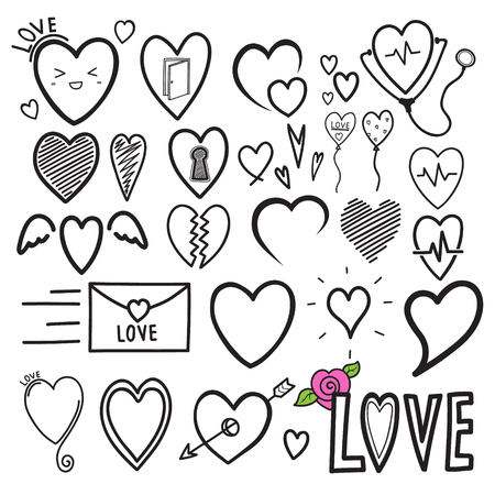 doodle heart hand drawing. icon for love and medical. vector illustration.
