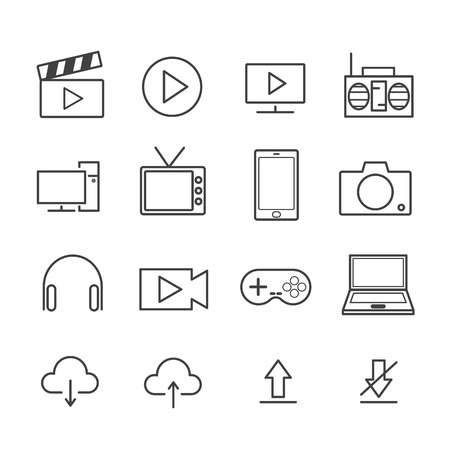 Media Equipment icon set. concept equipment used for online media and production. editable stroke. vector illustration.